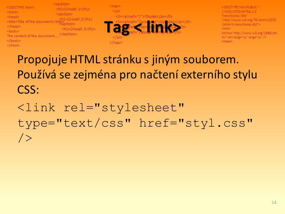 Title of the document The content of the document...... Úroveň 1 Úroveň 2 Úroveň 3 Titulek Výrobky Služby O nás Tag Tag Propojuje HTML stránku s jiným