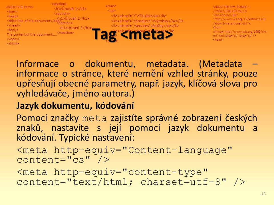 Title of the document The content of the document...... Úroveň 1 Úroveň 2 Úroveň 3 Titulek Výrobky Služby O nás Tag Tag Informace o dokumentu, metadat