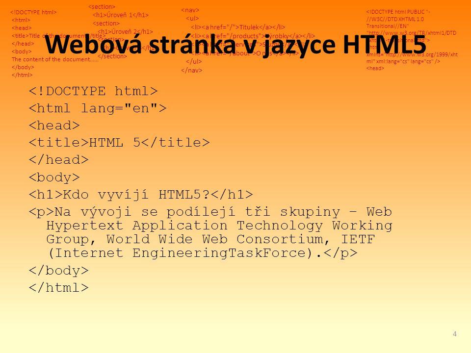 Title of the document The content of the document...... Úroveň 1 Úroveň 2 Úroveň 3 Titulek Výrobky Služby O nás Webová stránka v jazyce HTML5 HTML 5 K