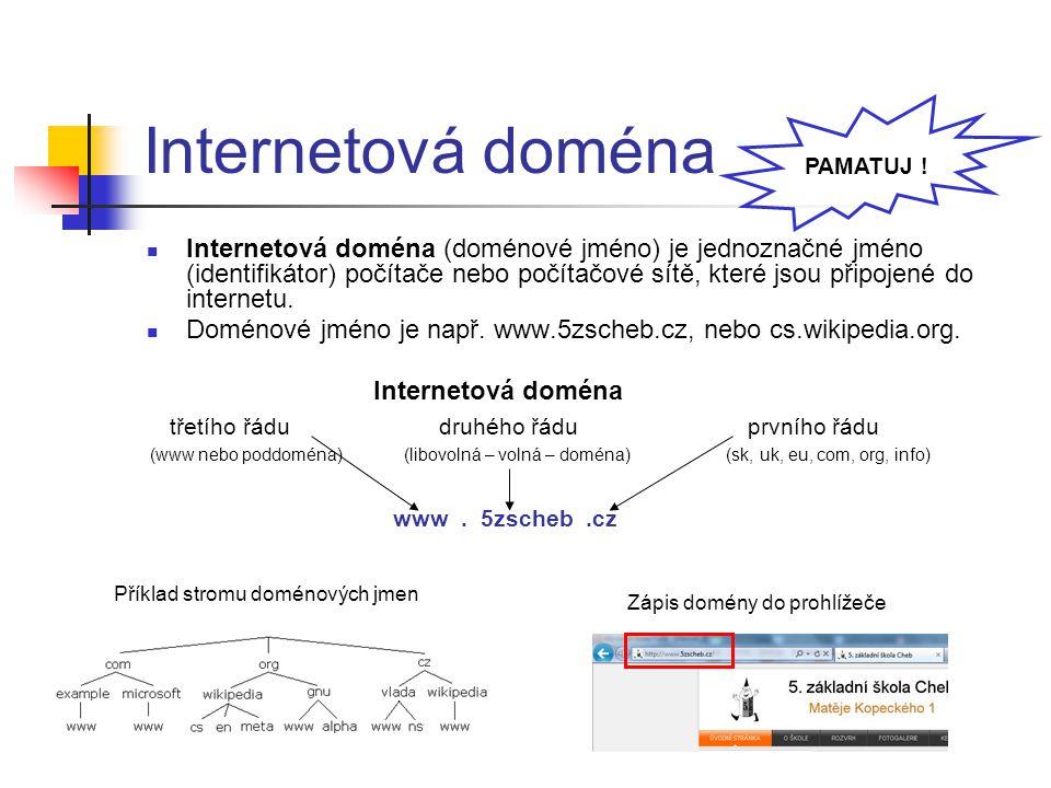 Internetová doména Internetová doména (doménové jméno) je jednoznačné jméno (identifikátor) počítače nebo počítačové sítě, které jsou připojené do int
