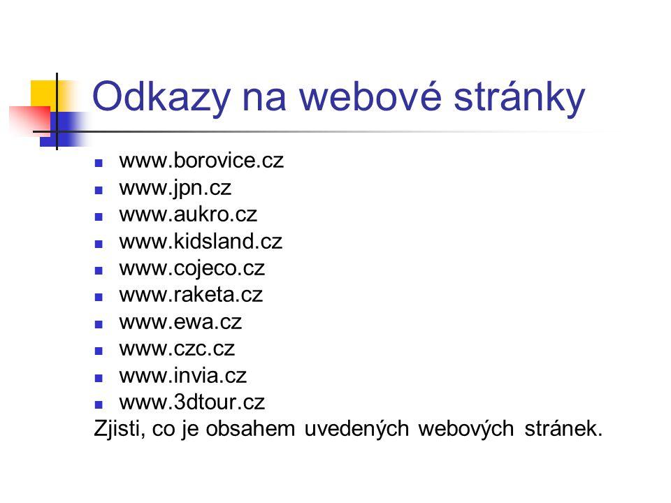 Odkazy na webové stránky www.borovice.cz www.jpn.cz www.aukro.cz www.kidsland.cz www.cojeco.cz www.raketa.cz www.ewa.cz www.czc.cz www.invia.cz www.3d