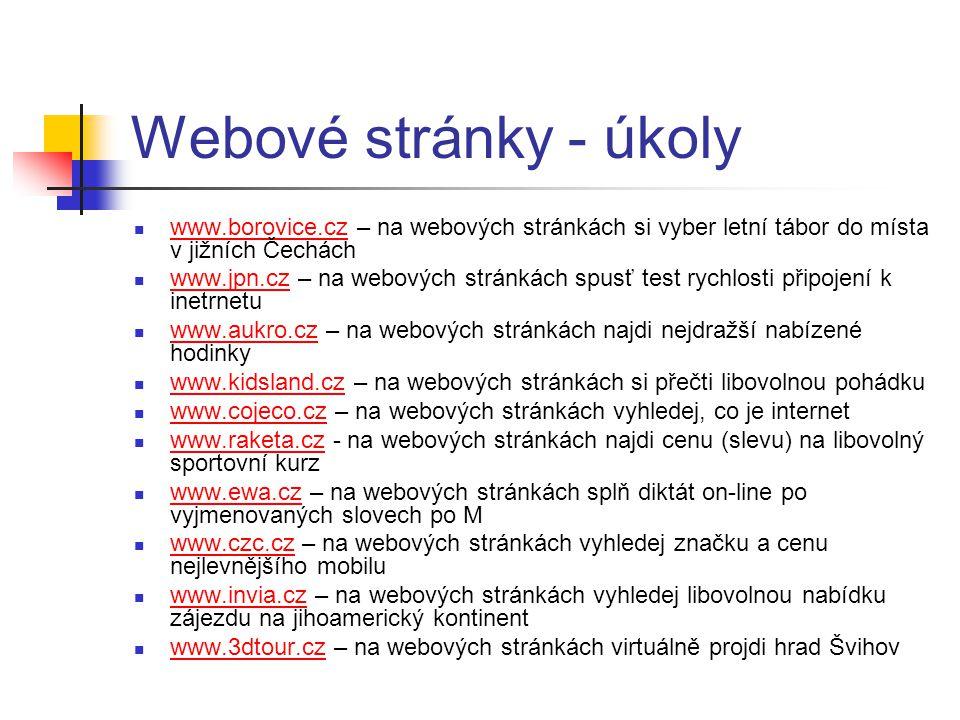 Webové stránky - úkoly www.borovice.cz – na webových stránkách si vyber letní tábor do místa v jižních Čechách www.borovice.cz www.jpn.cz – na webovýc
