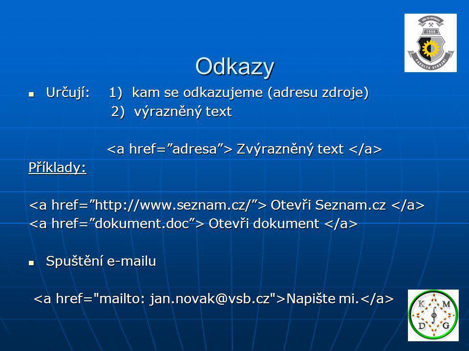 Odkazy Určují: 1) kam se odkazujeme (adresu zdroje) Určují: 1) kam se odkazujeme (adresu zdroje) 2) výrazněný text 2) výrazněný text Zvýrazněný text Z