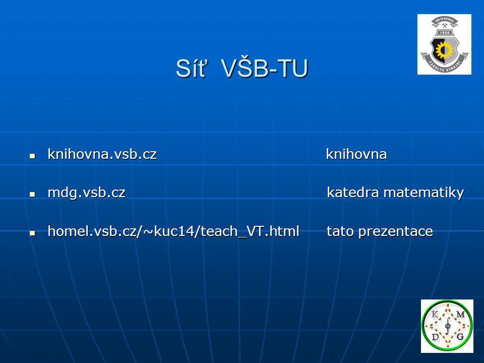 Síť VŠB-TU knihovna.vsb.cz knihovna knihovna.vsb.cz knihovna mdg.vsb.cz katedra matematiky mdg.vsb.cz katedra matematiky homel.vsb.cz/~kuc14/teach_VT.