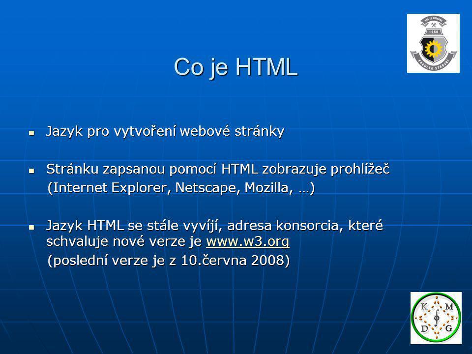 Co je HTML Jazyk pro vytvoření webové stránky Jazyk pro vytvoření webové stránky Stránku zapsanou pomocí HTML zobrazuje prohlížeč Stránku zapsanou pom
