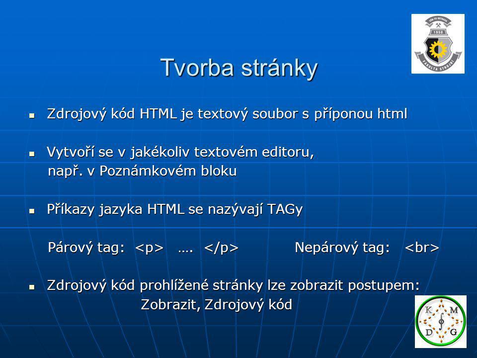 Tvorba stránky Zdrojový kód HTML je textový soubor s příponou html Zdrojový kód HTML je textový soubor s příponou html Vytvoří se v jakékoliv textovém