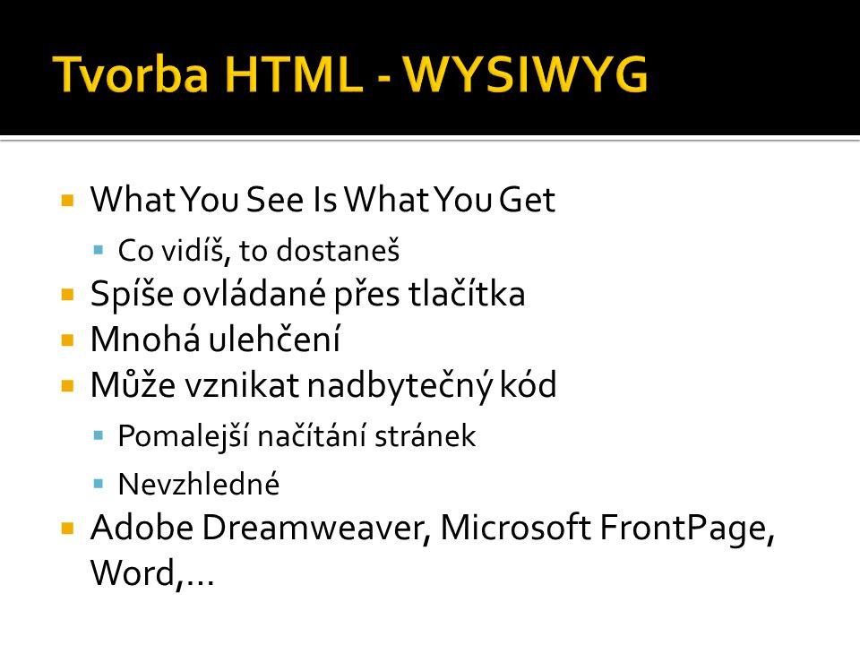  What You See Is What You Get  Co vidíš, to dostaneš  Spíše ovládané přes tlačítka  Mnohá ulehčení  Může vznikat nadbytečný kód  Pomalejší načítání stránek  Nevzhledné  Adobe Dreamweaver, Microsoft FrontPage, Word,…