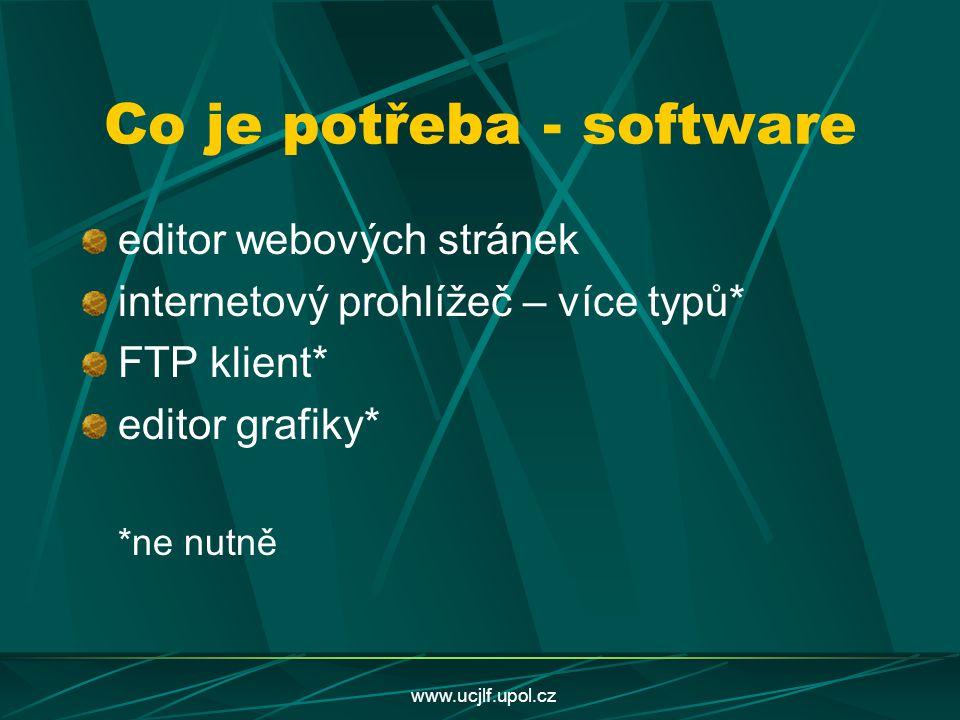 www.ucjlf.upol.cz Co je potřeba - software editor webových stránek internetový prohlížeč – více typů* FTP klient* editor grafiky* *ne nutně