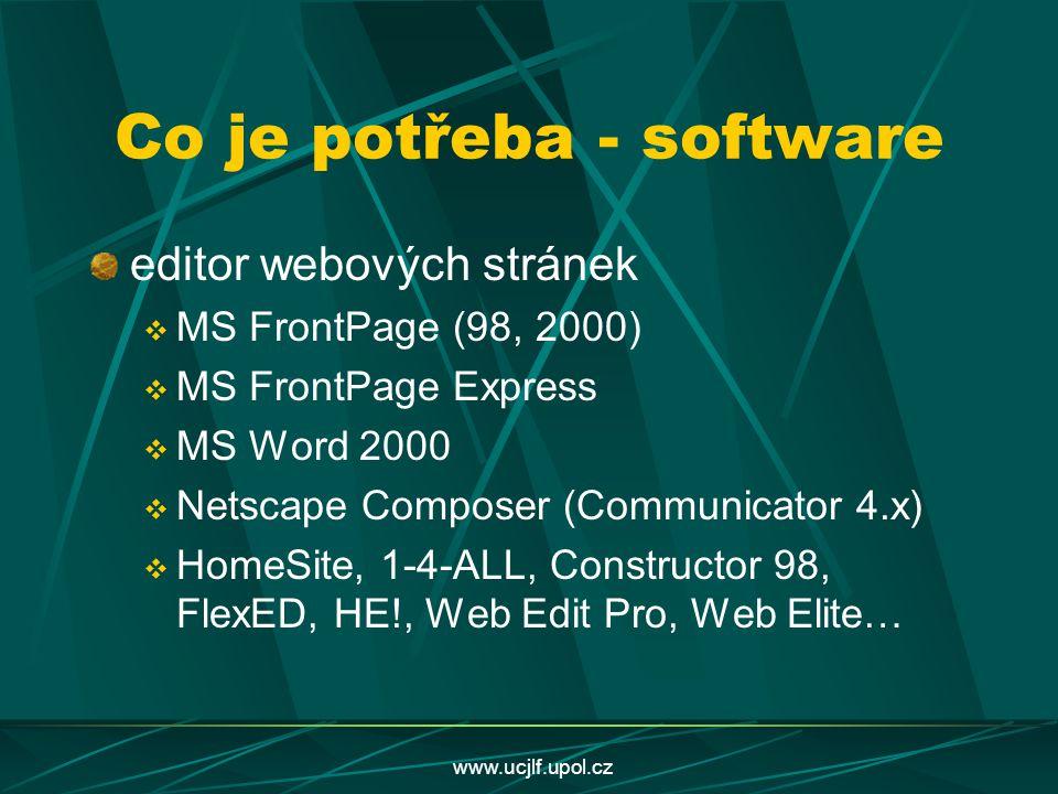 www.ucjlf.upol.cz Co je potřeba - software editor webových stránek  MS FrontPage (98, 2000)  MS FrontPage Express  MS Word 2000  Netscape Composer