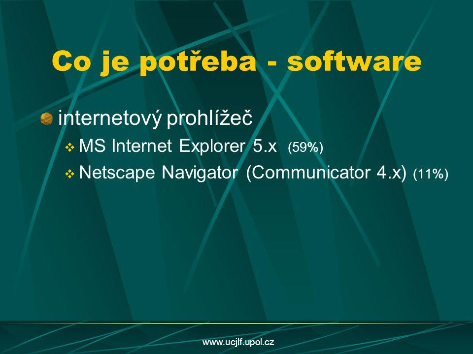 www.ucjlf.upol.cz Co je potřeba - software internetový prohlížeč  MS Internet Explorer 5.x (59%)  Netscape Navigator (Communicator 4.x) (11%)