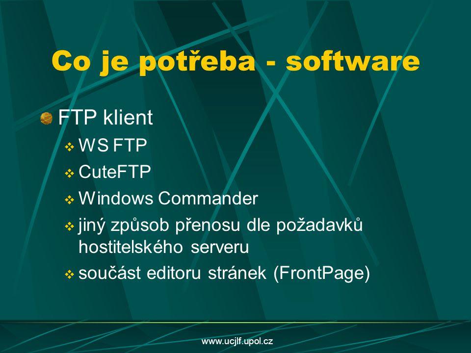 www.ucjlf.upol.cz Co je potřeba - software FTP klient  WS FTP  CuteFTP  Windows Commander  jiný způsob přenosu dle požadavků hostitelského serveru