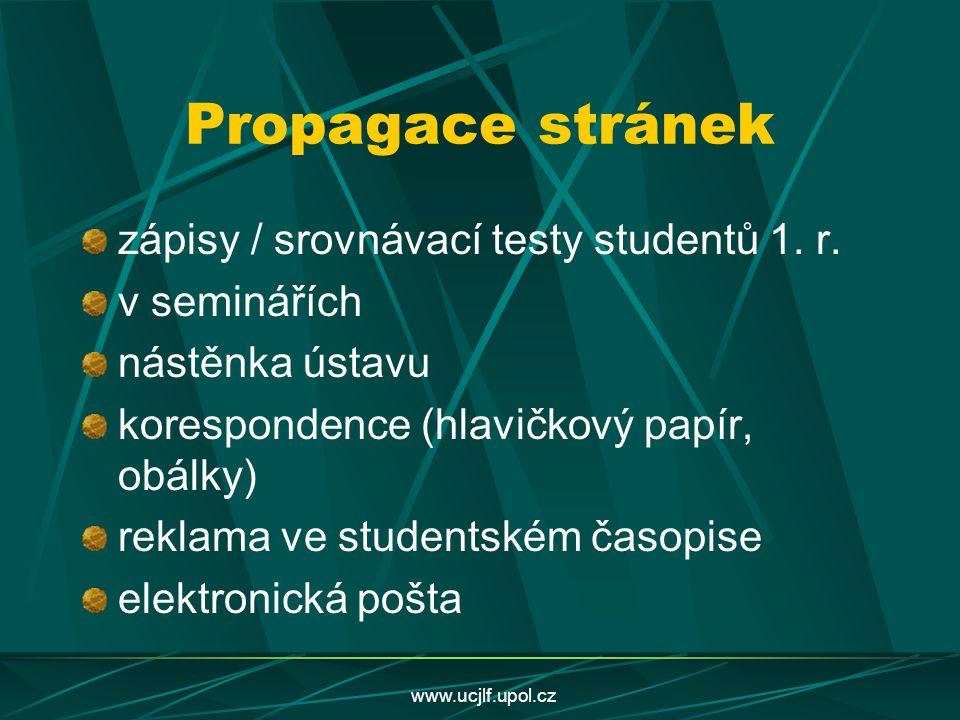 www.ucjlf.upol.cz Propagace stránek zápisy / srovnávací testy studentů 1. r. v seminářích nástěnka ústavu korespondence (hlavičkový papír, obálky) rek