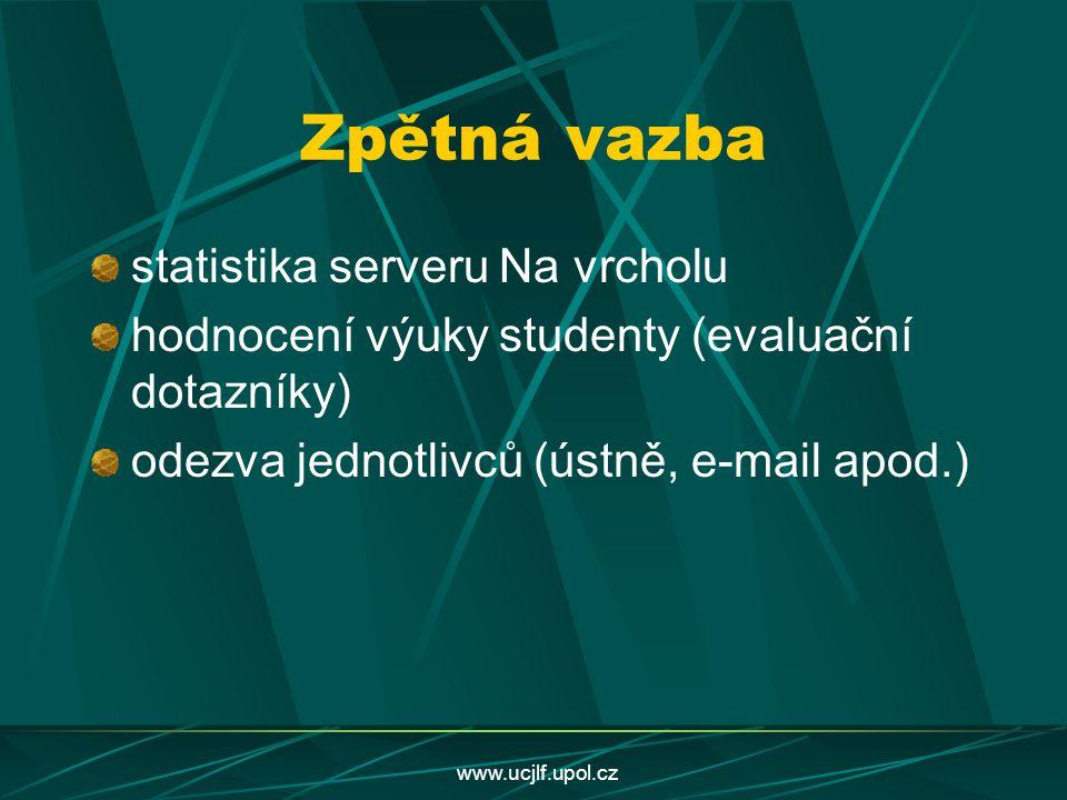 www.ucjlf.upol.cz Zpětná vazba statistika serveru Na vrcholu hodnocení výuky studenty (evaluační dotazníky) odezva jednotlivců (ústně, e-mail apod.)