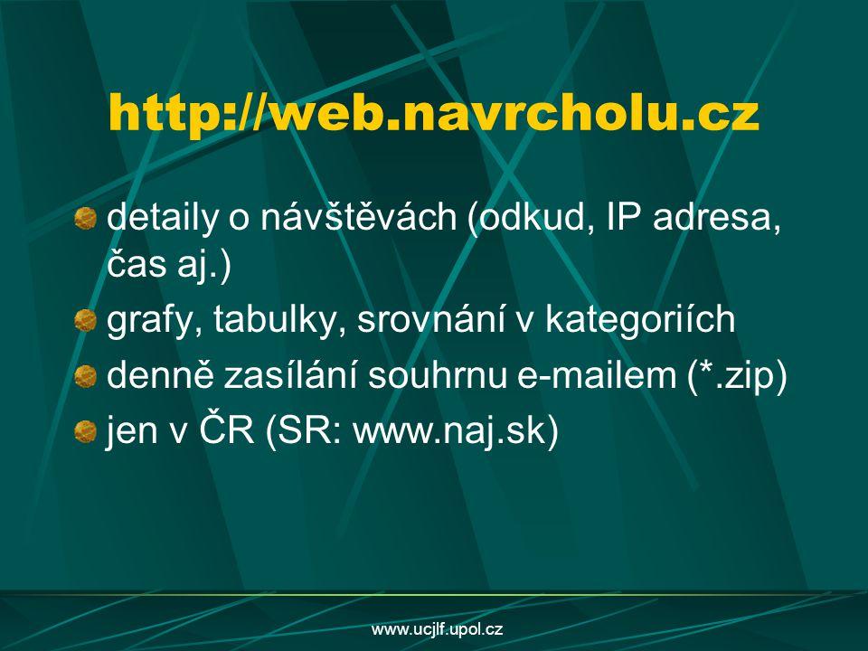 www.ucjlf.upol.cz http://web.navrcholu.cz detaily o návštěvách (odkud, IP adresa, čas aj.) grafy, tabulky, srovnání v kategoriích denně zasílání souhr