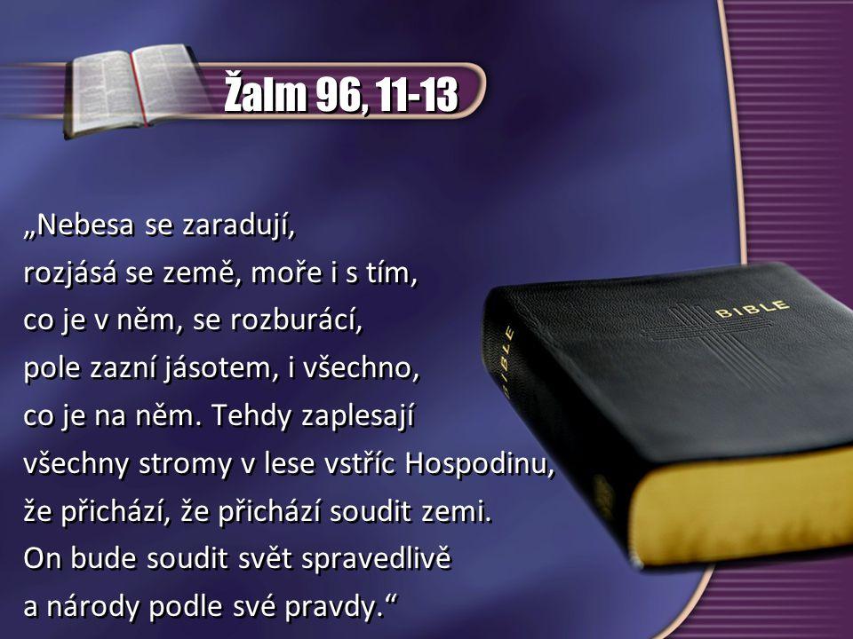 """Žalm 96, 11-13 """"Nebesa se zaradují, rozjásá se země, moře i s tím, co je v něm, se rozburácí, pole zazní jásotem, i všechno, co je na něm. Tehdy zaple"""