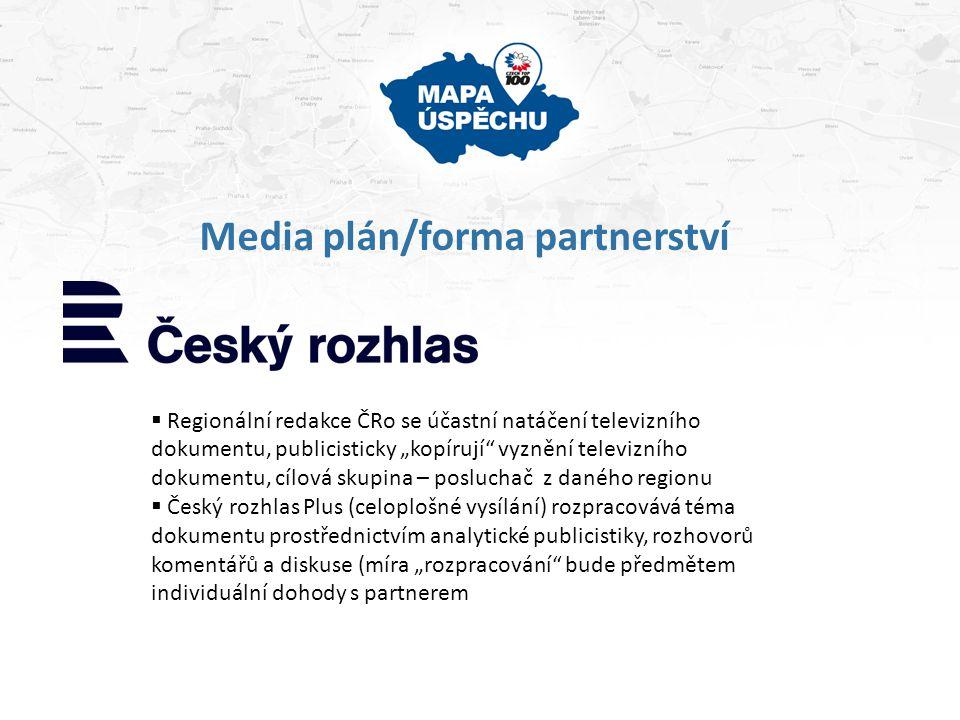 """Media plán/forma partnerství  Redakce regionálních Deníků společnosti Vltava-Labe-Press se účastní natáčení televizního dokumentu, publicisticky """"kopírují vyznění televizního dokumentu, avizují vysílání v ČT, cílová skupina – čtenář z daného regionu  Celostátní redakce Vltava-Labe-Press rozpracovává téma dokumentu prostřednictvím rozhovoru a redakčního textu (míra """"rozpracování bude předmětem individuální dohody s partnerem  Redakce regionálních Deníků i celostátní redakce využívá webových stránek pro podporu projektu """"Mapa úspěchu ."""