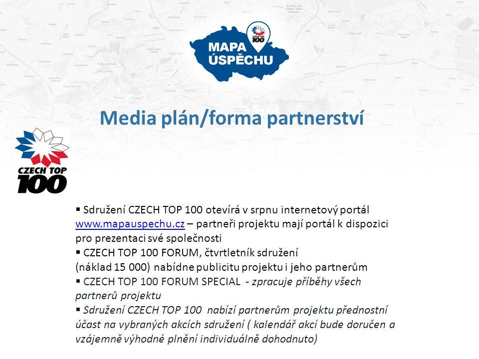 Media plán/forma partnerství  Sdružení CZECH TOP 100 otevírá v srpnu internetový portál www.mapauspechu.cz – partneři projektu mají portál k dispozic