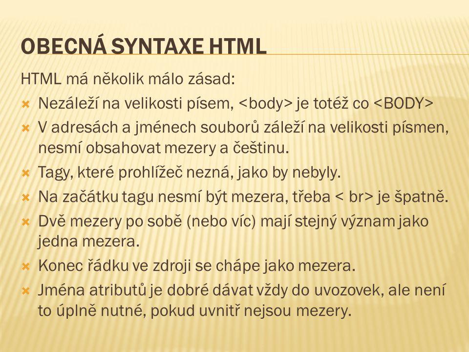 OBECNÁ SYNTAXE HTML HTML má několik málo zásad:  Nezáleží na velikosti písem, je totéž co  V adresách a jménech souborů záleží na velikosti písmen, nesmí obsahovat mezery a češtinu.