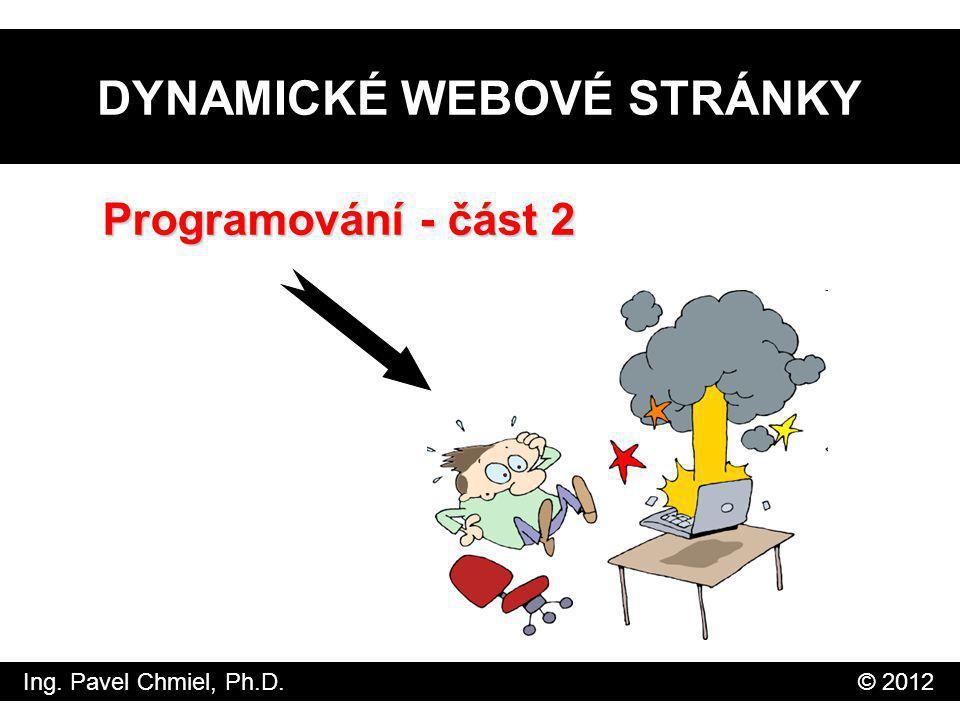 DYNAMICKÉ WEBOVÉ STRÁNKY Programování - část 2 Ing. Pavel Chmiel, Ph.D. © 2012
