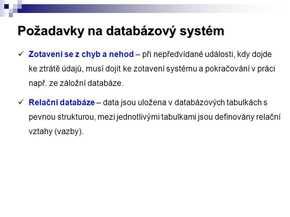 Požadavky na databázový systém Zotavení se z chyb a nehod – při nepředvídané události, kdy dojde ke ztrátě údajů, musí dojít ke zotavení systému a pok