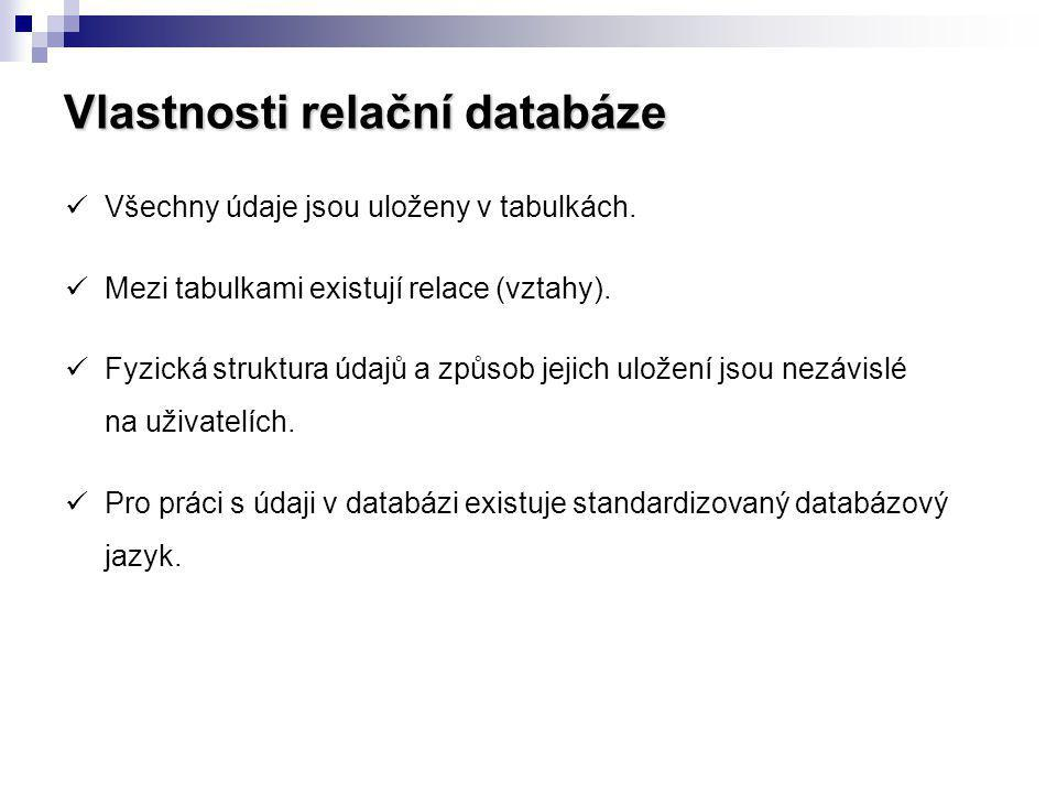 Vlastnosti relační databáze Všechny údaje jsou uloženy v tabulkách. Mezi tabulkami existují relace (vztahy). Fyzická struktura údajů a způsob jejich u