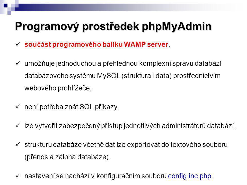 Programový prostředek phpMyAdmin součást programového balíku WAMP server, umožňuje jednoduchou a přehlednou komplexní správu databází databázového sys