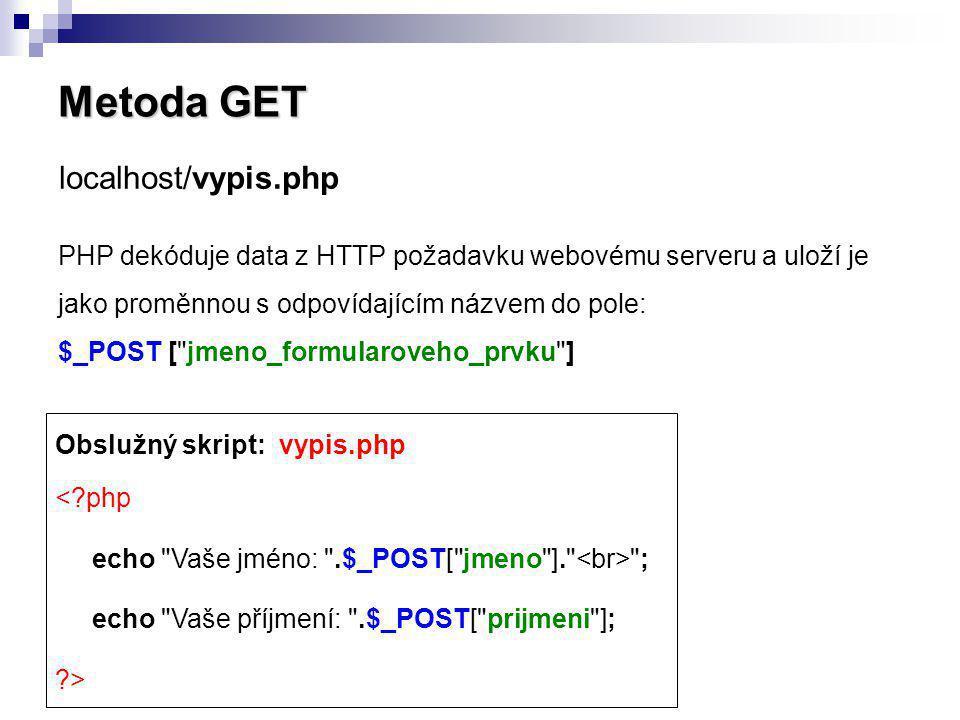Metoda GET PHP dekóduje data z HTTP požadavku webovému serveru a uloží je jako proměnnou s odpovídajícím názvem do pole: $_POST [
