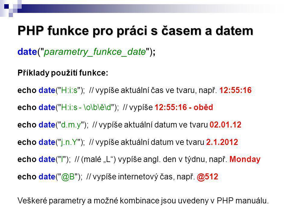 PHP funkce pro práci s časem a datem date(
