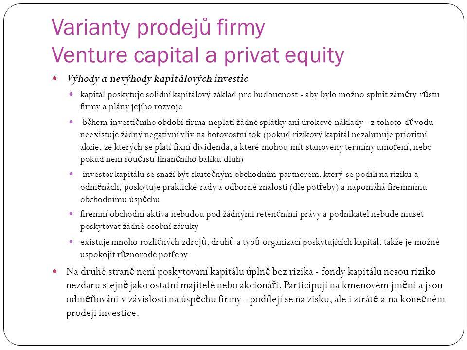 Varianty prodejů firmy Venture capital a privat equity Výhody a nevýhody kapitálových investic kapitál poskytuje solidní kapitálový základ pro budoucn