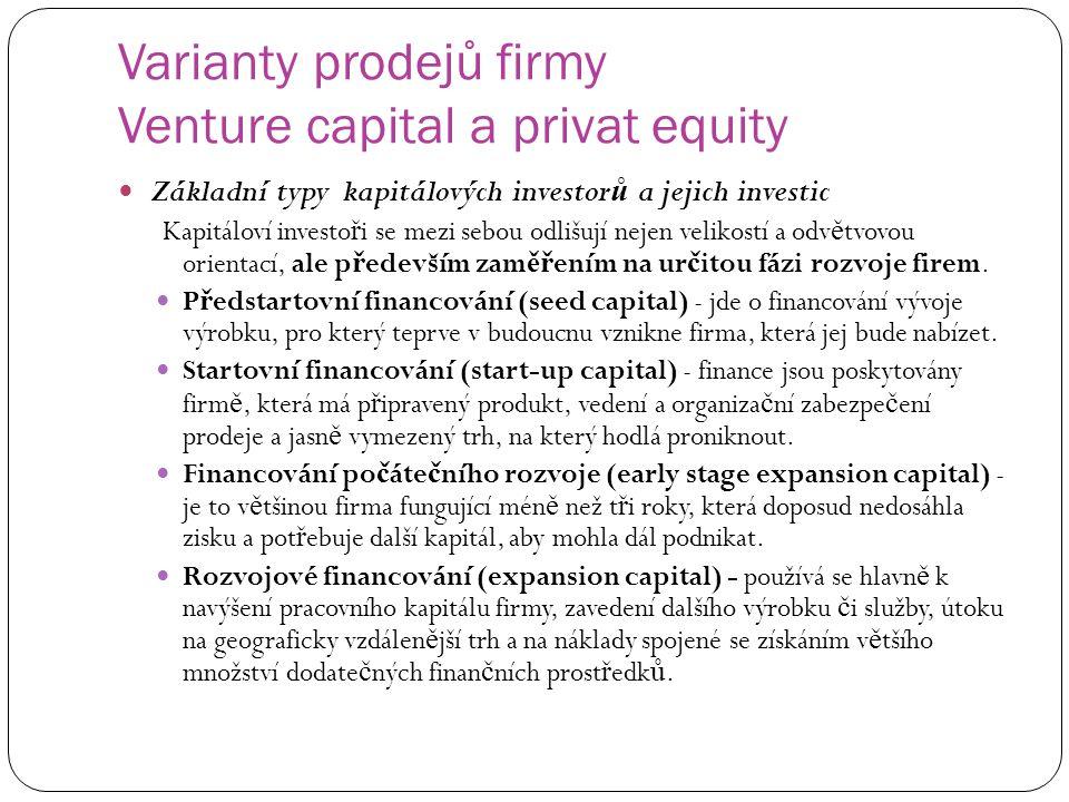 Varianty prodejů firmy Venture capital a privat equity Základní typy kapitálových investor ů a jejich investic Kapitáloví investo ř i se mezi sebou od