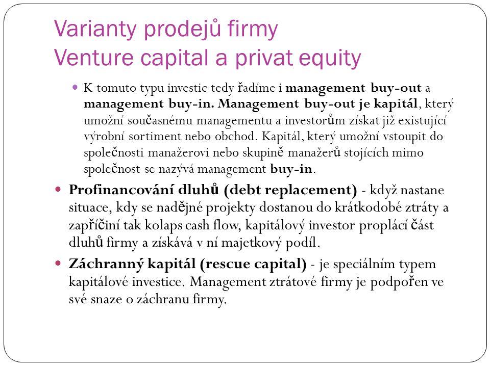 Varianty prodejů firmy Venture capital a privat equity K tomuto typu investic tedy ř adíme i management buy-out a management buy-in. Management buy-ou