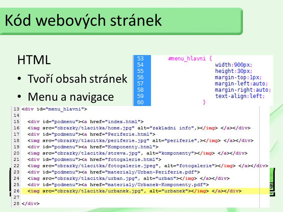 Kód webových stránek HTML Tvoří obsah stránek Menu a navigace CSS Formátuje obsah stránek Optimalizace pro prohlížeče