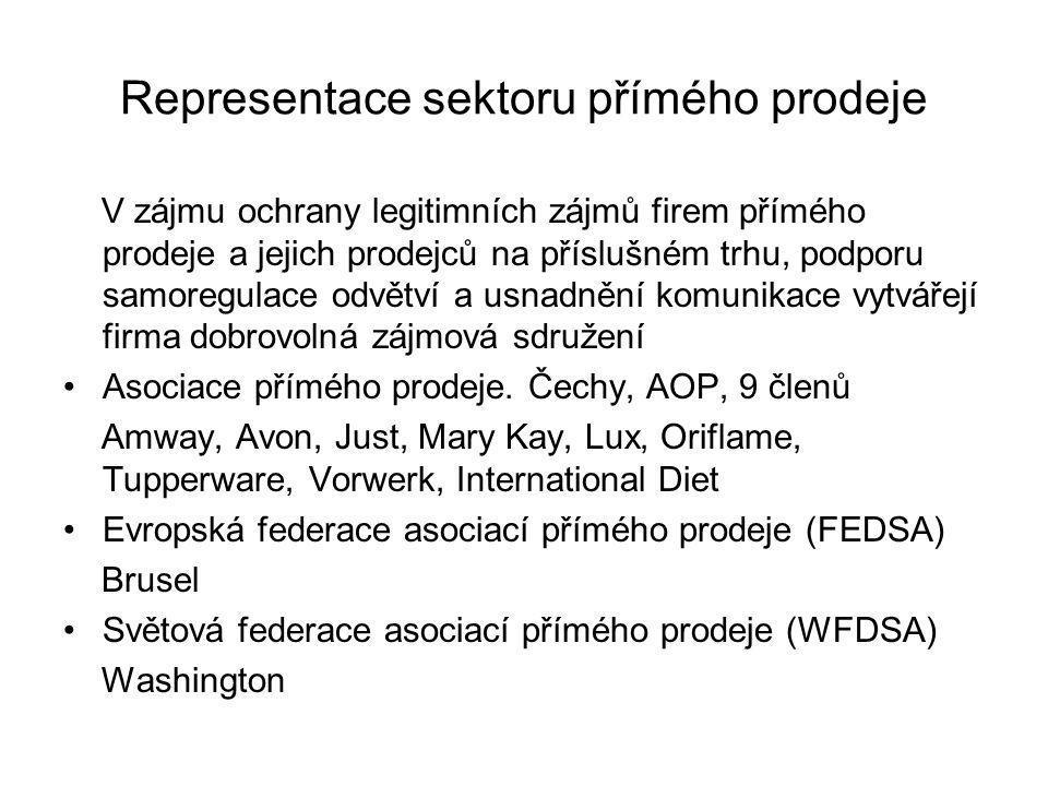 Representace sektoru přímého prodeje V zájmu ochrany legitimních zájmů firem přímého prodeje a jejich prodejců na příslušném trhu, podporu samoregulac