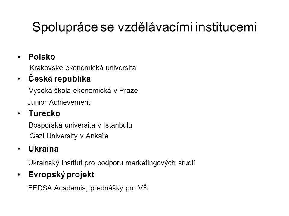 Spolupráce se vzdělávacími institucemi Polsko Krakovské ekonomická universita Česká republika Vysoká škola ekonomická v Praze Junior Achievement Turec