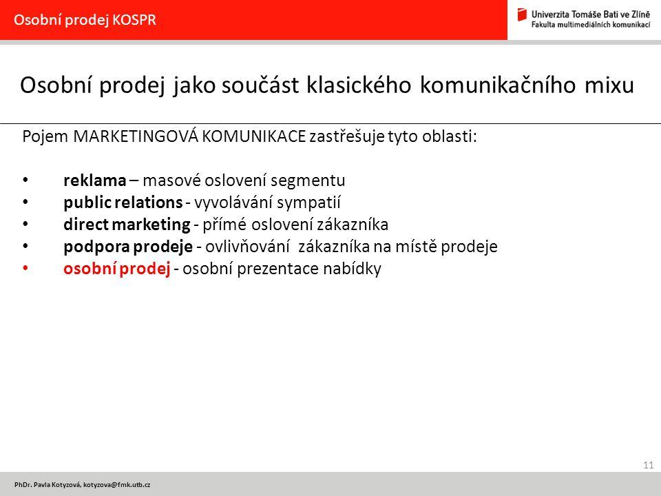 11 PhDr. Pavla Kotyzová, kotyzova@fmk.utb.cz Osobní prodej jako součást klasického komunikačního mixu Osobní prodej KOSPR Pojem MARKETINGOVÁ KOMUNIKAC