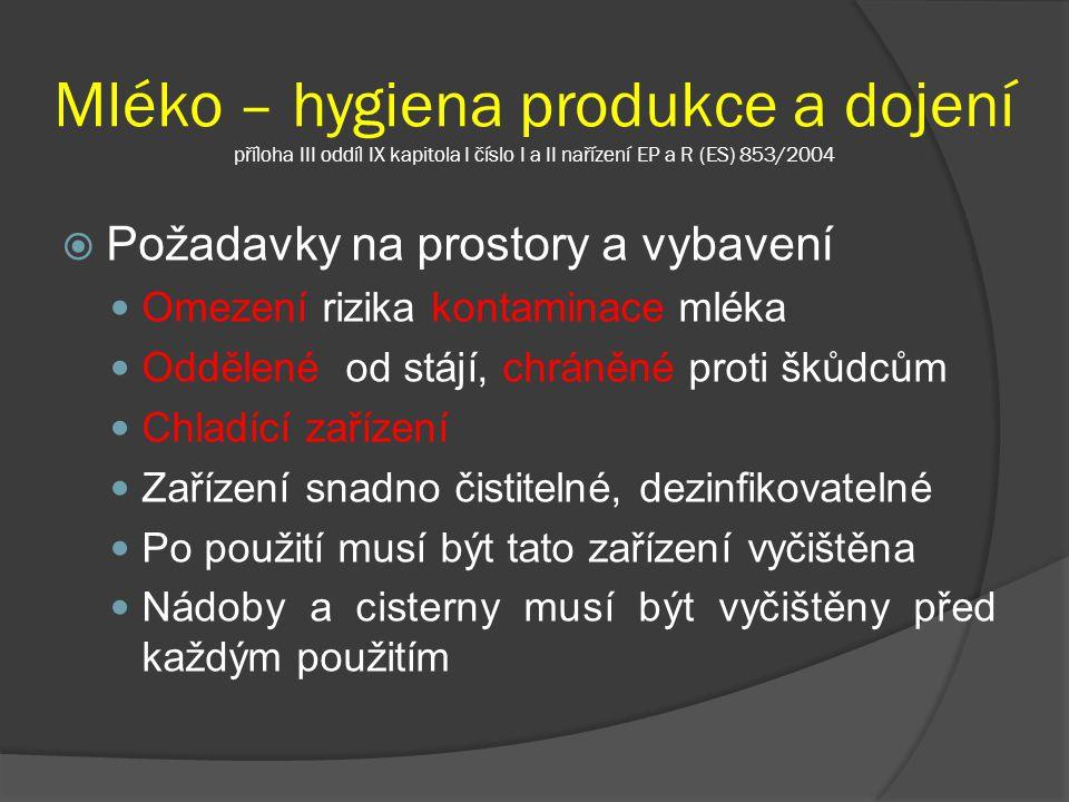Mléko – hygiena produkce a dojení příloha III oddíl IX kapitola I číslo I a II nařízení EP a R (ES) 853/2004  Požadavky na prostory a vybavení Omezen