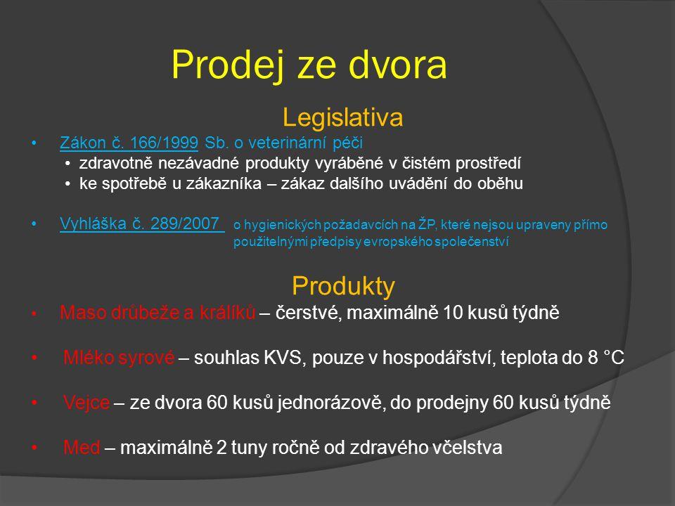 Prodej ze dvora Legislativa Zákon č. 166/1999 Sb. o veterinární péči zdravotně nezávadné produkty vyráběné v čistém prostředí ke spotřebě u zákazníka