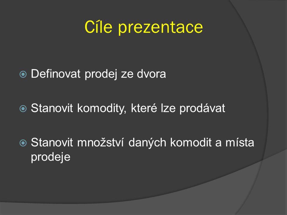 Cíle prezentace  Definovat prodej ze dvora  Stanovit komodity, které lze prodávat  Stanovit množství daných komodit a místa prodeje