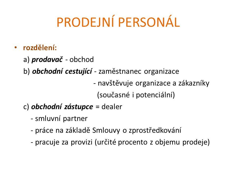 PRODEJNÍ PERSONÁL rozdělení: a) prodavač - obchod b) obchodní cestující - zaměstnanec organizace - navštěvuje organizace a zákazníky (současné i potenciální) c) obchodní zástupce = dealer - smluvní partner - práce na základě Smlouvy o zprostředkování - pracuje za provizi (určité procento z objemu prodeje)