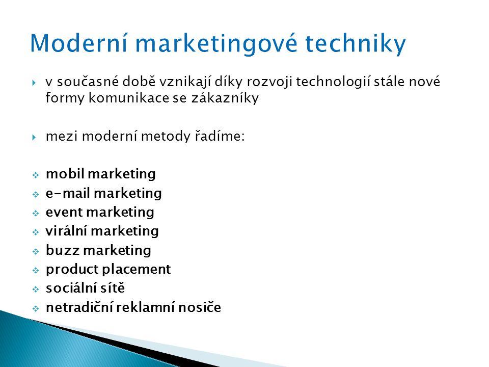  v současné době vznikají díky rozvoji technologií stále nové formy komunikace se zákazníky  mezi moderní metody řadíme:  mobil marketing  e-mail marketing  event marketing  virální marketing  buzz marketing  product placement  sociální sítě  netradiční reklamní nosiče