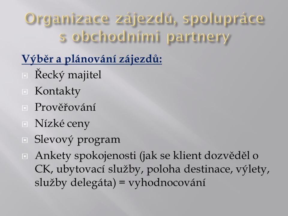 Výběr a plánování zájezdů:  Řecký majitel  Kontakty  Prověřování  Nízké ceny  Slevový program  Ankety spokojenosti (jak se klient dozvěděl o CK, ubytovací služby, poloha destinace, výlety, služby delegáta) = vyhodnocování