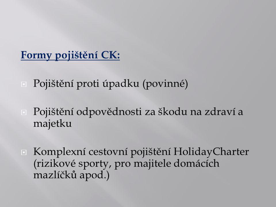 Formy pojištění CK:  Pojištění proti úpadku (povinné)  Pojištění odpovědnosti za škodu na zdraví a majetku  Komplexní cestovní pojištění HolidayCharter (rizikové sporty, pro majitele domácích mazlíčků apod.)