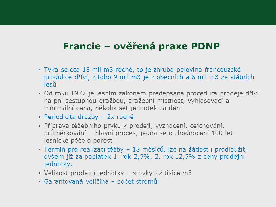 Francie – ověřená praxe PDNP Týká se cca 15 mil m3 ročně, to je zhruba polovina francouzské produkce dříví, z toho 9 mil m3 je z obecních a 6 mil m3 z