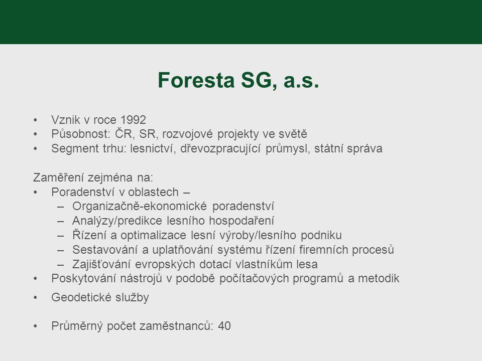 Foresta SG, a.s. Vznik v roce 1992 Působnost: ČR, SR, rozvojové projekty ve světě Segment trhu: lesnictví, dřevozpracující průmysl, státní správa Zamě