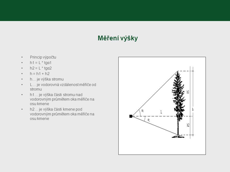 Měření výšky Princip výpočtu h1 = L * tgα1 h2 = L * tgα2 h = h1 + h2 h… je výška stromu L… je vodorovná vzdálenost měřiče od stromu h1… je výška části