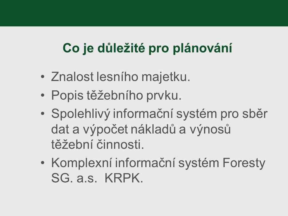 Co je důležité pro plánování Znalost lesního majetku. Popis těžebního prvku. Spolehlivý informační systém pro sběr dat a výpočet nákladů a výnosů těže