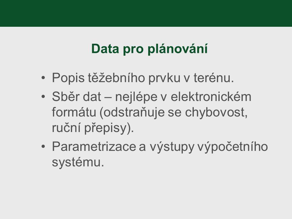 Data pro plánování Popis těžebního prvku v terénu. Sběr dat – nejlépe v elektronickém formátu (odstraňuje se chybovost, ruční přepisy). Parametrizace