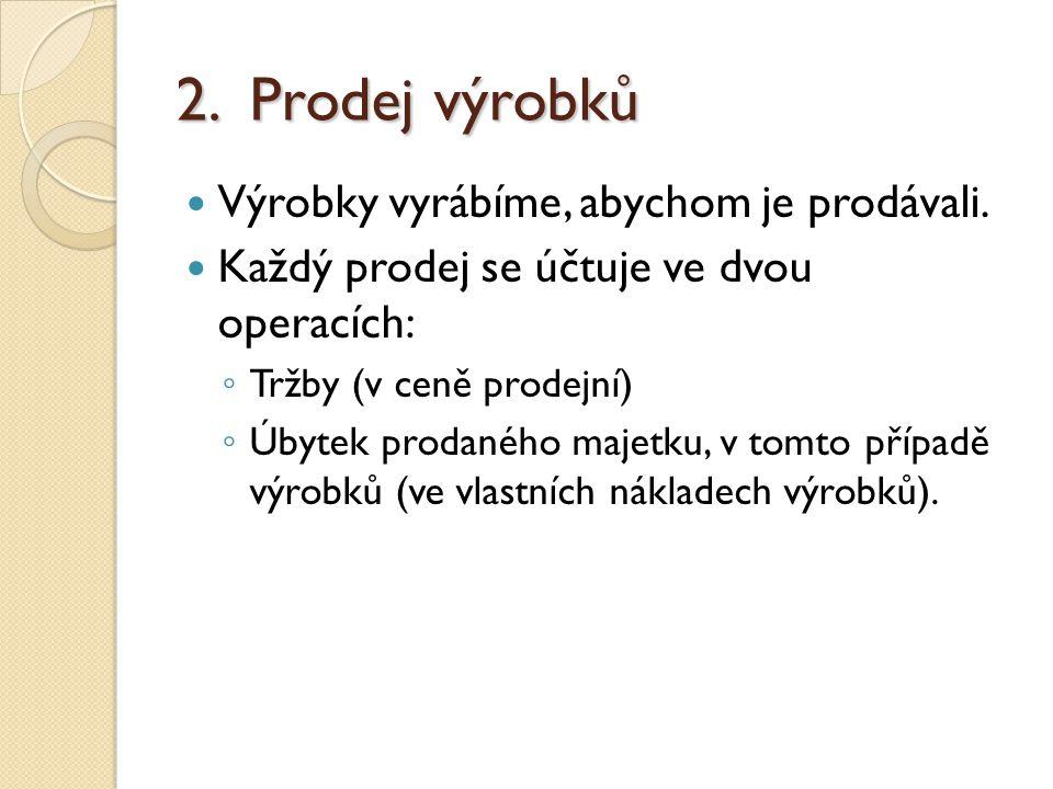 2.Prodej výrobků Výrobky vyrábíme, abychom je prodávali.