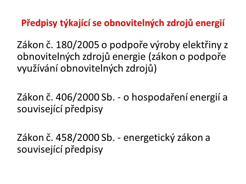 Předpisy týkající se obnovitelných zdrojů energií Zákon č. 180/2005 o podpoře výroby elektřiny z obnovitelných zdrojů energie (zákon o podpoře využívá