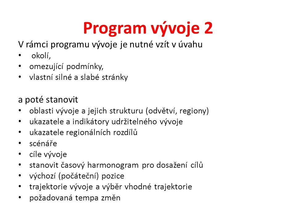 Program vývoje 2 V rámci programu vývoje je nutné vzít v úvahu okolí, omezující podmínky, vlastní silné a slabé stránky a poté stanovit oblasti vývoje